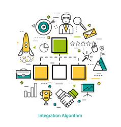 Line art concept - integration algorithm vector