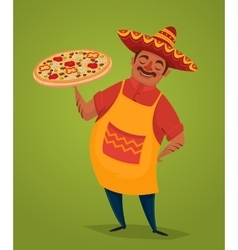 Mexican chef with pizza cartoon character vector