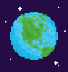 pixel art retro arcade game planet earth vector image