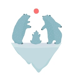 Polar Bears Watching the Sunset vector image vector image