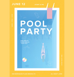 Pool party vertical poster open-air summer event vector