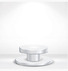 Realistic podium round 3d empty white vector