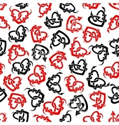 Red and black heart tattoos seamless pattern vector