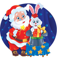 Santa claus the magician and white rabbit in a hat vector