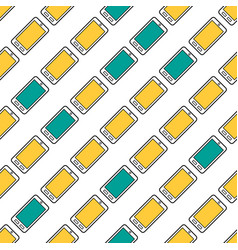seamless pattern with colored smart phones vector image vector image