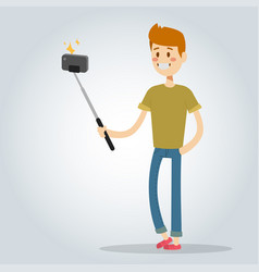 selfie man boy isolated vector image