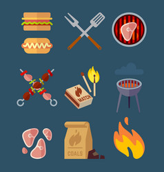 Set of flat barbeque icons for web camping vector