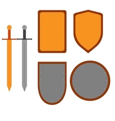 Set of signs shield and sword 3107 vector image