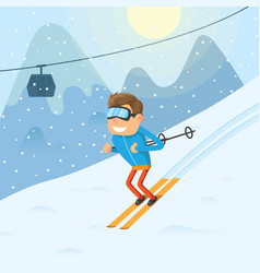 sports man riding a winter ski on snow slope on vector image
