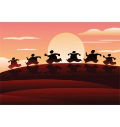 sunset run vector image vector image