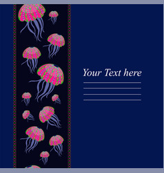 templates with the colored jellyfish for your vector image vector image