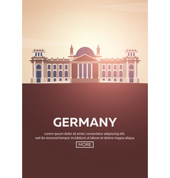 Travel poster to germany landmarks silhouettes vector