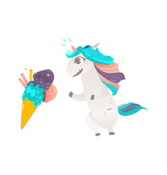 unicorn character and giant ice cream cone vector image vector image