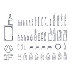vecor set of vape related simple line icons rda vector image vector image