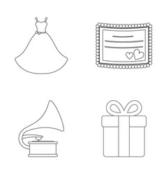 Wedding dress invitation gift gramophone vector