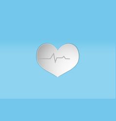 White heart paper design style icon concept vector
