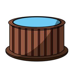 Wooden jacuzzi spa vector