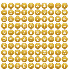 100 eco care icons set gold vector