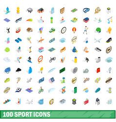 100 sport icons set isometric 3d style vector