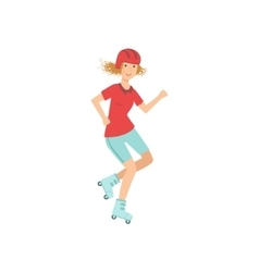 Woman Doing Roller Skating In Helmet vector image