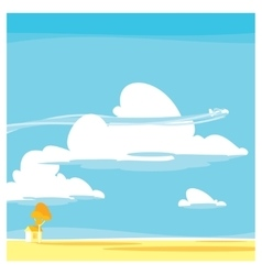 cartoon landscape clouds vector image