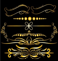 Color gold vintage decorations elements flourishes vector