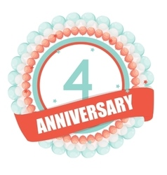 Cute template 4 years anniversary with balloons vector