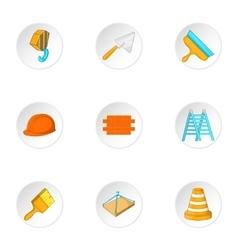 Construction icons set cartoon style vector