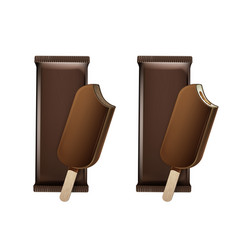 Bitten ice cream in chocolate glaze on stick vector