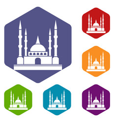 Mosque icons set hexagon vector