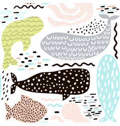 Seamless pattern with sea animal fur-sealwhale vector