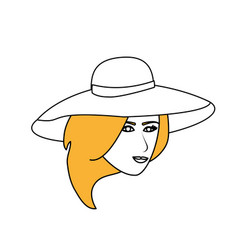 Color silhouette image cartoon front face woman vector