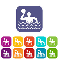 Water polo icons set vector