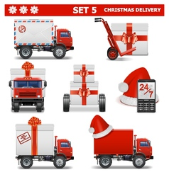 Christmas delivery set 5 vector