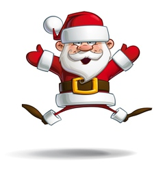 Happy santa jumping with open hands vector