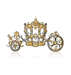 Golden carriage sketch for your design vector