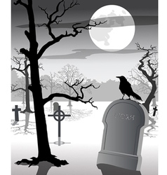 Old graveyard with crow vector