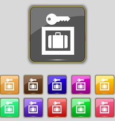 Luggage storage icon sign set with eleven colored vector