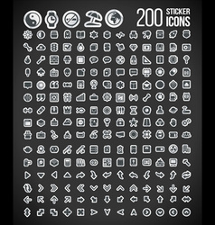 200 Sticker Icons set 2 vector image