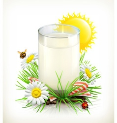 Cup of milk in grass vector