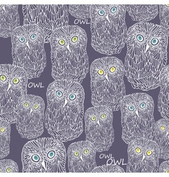 Seamless pattern with doodle night owl vector