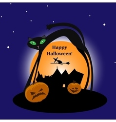 Halloween witch with cat and pumpkins vector