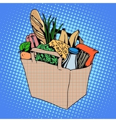 Grocery bag full of food cheese milk bread fruit vector