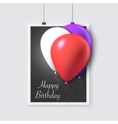 Happy birthday poster with balloons vector