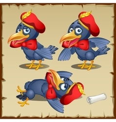 Cartoon herald crows characters costumes posing vector