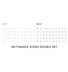 Set of thin and bold finance money icons and vector
