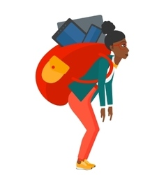 Woman with backpack full of devices vector