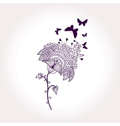 Monochrome card with flower and butterflies vector