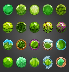 Big set of round green button vector