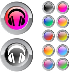 Headphones multicolor round button vector